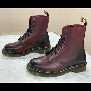 Dr Martens Pascal 8 Eye Wine Black Leather Boots